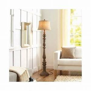 rustic distressed carved wood floor lamp w textured beige With bright rustic floor lamp