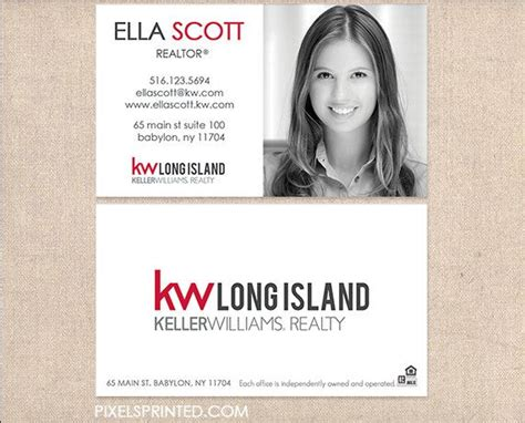 keller williams real estate business cards thick color