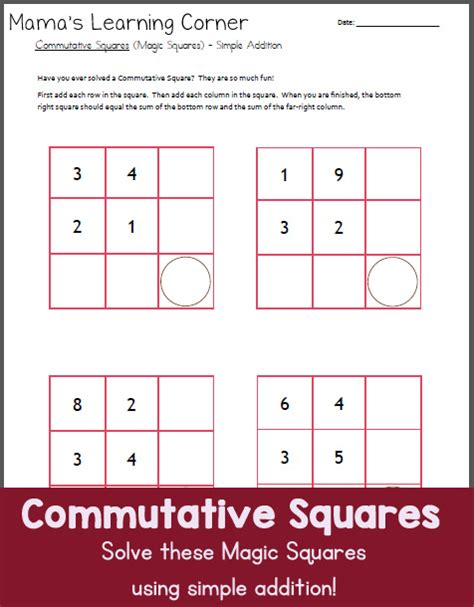 commutative squares magic squares simple addition