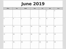 June 2019 Free Monthly Calendar