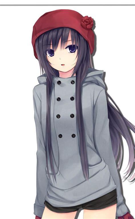 long black hair anime girl beanie hat jacket winter