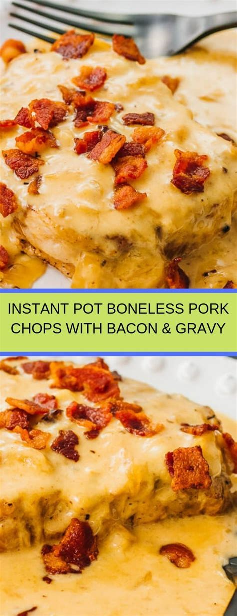 Place the pork chops in the instant pot with a tablespoon of coconut oil. INSTANT POT BONELESS PORK CHOPS WITH BACON & GRAVY | Bacon ...
