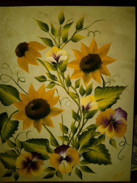 osci level  board folk art flowers flower painting