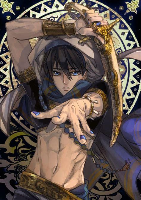 boy arabianclothes blackhair blueeyes bracer