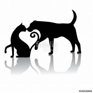 """""""Dog and cat touching noses silhouette. They form a heart ..."""