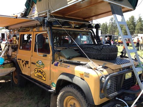 land rover camel defender lots     facing tent hood mounted tire shovel
