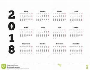 Ano Simples Do Calendário 2018 Na Língua Espanhola
