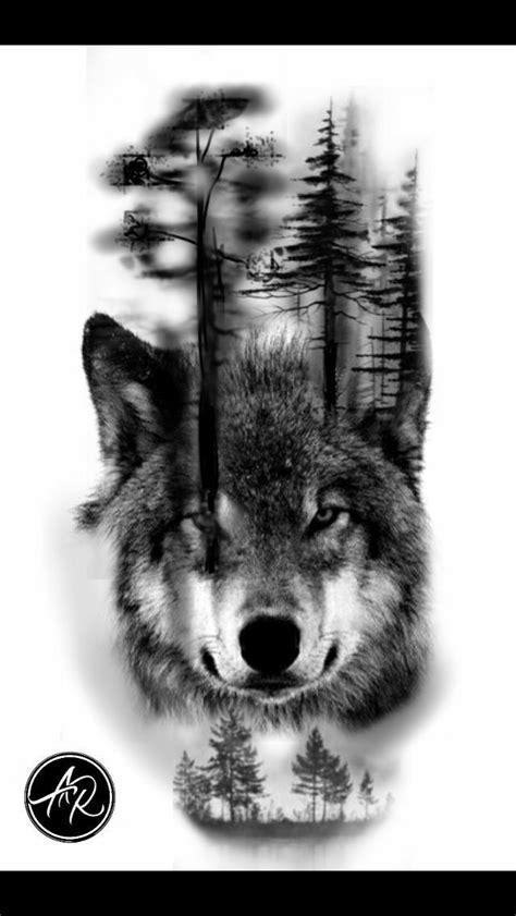 plantillas de lobos y bosques | Tatuajes de lobos
