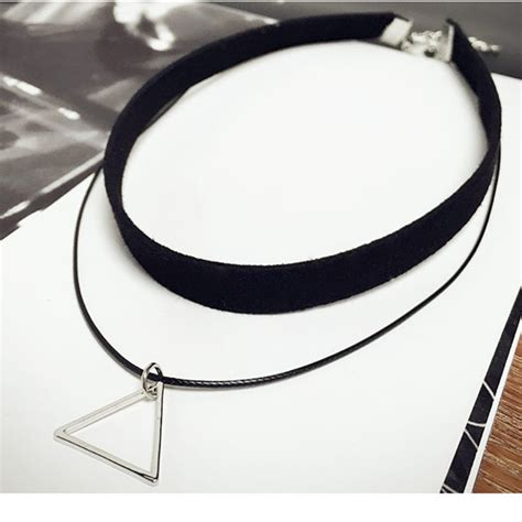 multilayer choker necklace with triangle pendant free