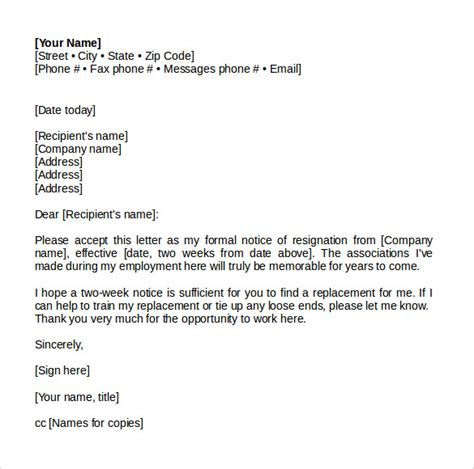 sample resignation letter  notice   documents
