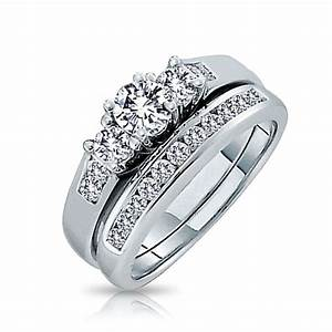 925 silver past present future cz engagement wedding ring set With engagement rings wedding band