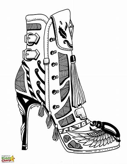 Coloring Heel Shoe Pages Shoes Adults Adult