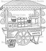 Sweets Candy Coloring Pages Sweet Some Illustration Cart Beyondthefringecrafts Stall Ice Cream Bags Dessert sketch template