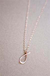 letter j necklace rose gold initial necklace cursive With rose gold letter j necklace