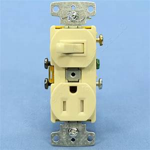 Hubbell Ivory Combo Light Switch Tamper Resistant Outlet