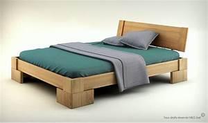 Lit en bois massif design pour chambre adulte Veron