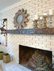Painted, Brick, Fireplace, With, Rustic, Wood, Mantel