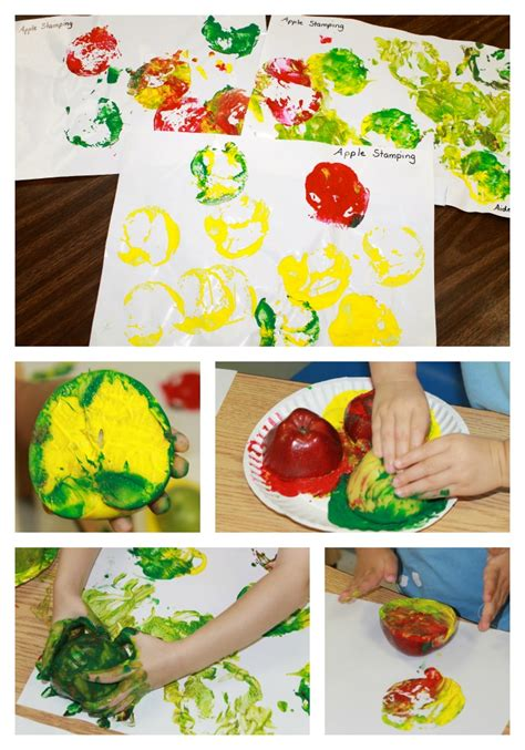 apple roll painting 449 | apple paint stamping