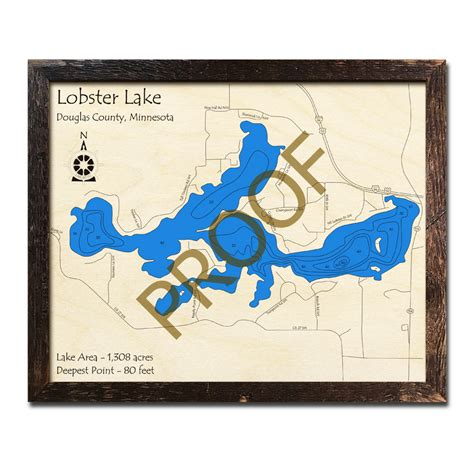 Lobster Roseville Mn by Lobster Lake Mn 3d Wood Topo Maps