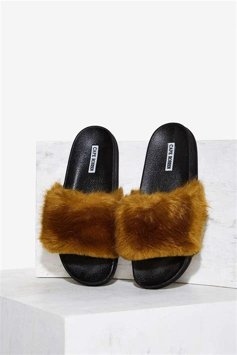lyst nasty gal easy touch faux fur  sandal olive