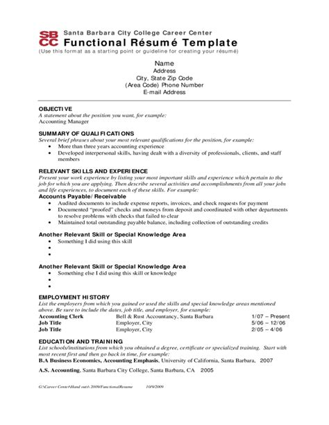 Free Usable Resume Templates by Functional Resume Template Sle Free