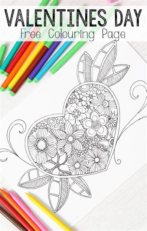 heart colouring page  grown ups red ted art