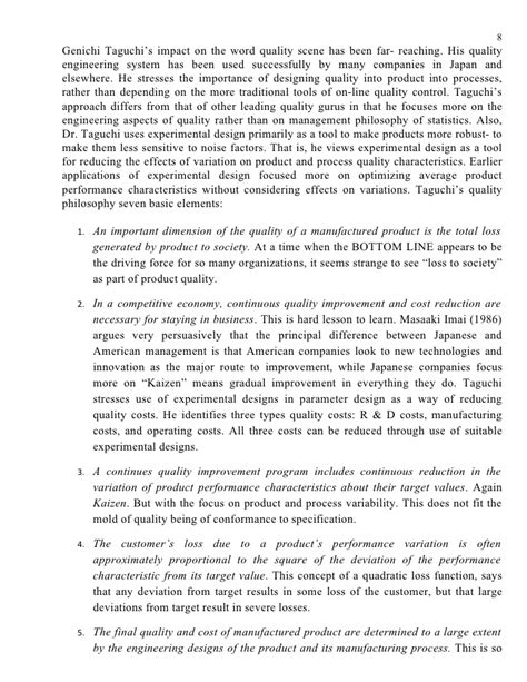Seminar Report On Taguchi Methods2