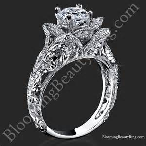 hippie engagement rings embossed blooming engagement ring with etched carvings bbr611 1 blooming