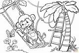 Monkey Coloring Tree Swinging Pages Drawing Monkeys Printable Trees Sheets Animals Sheet Awesome Puzzle Funny Through Under Paper Another Getdrawings sketch template