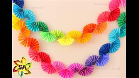 diwali craft diy paper rainbow fan garland  party