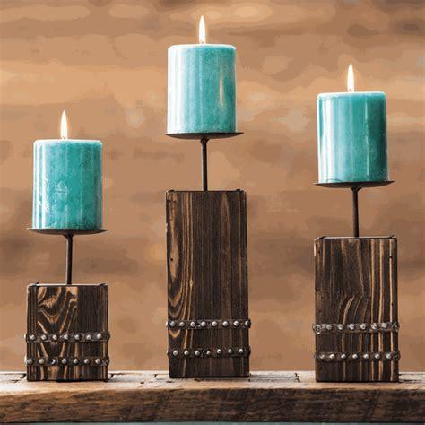 Southwest Wood Candle Holder Set   3 pcs
