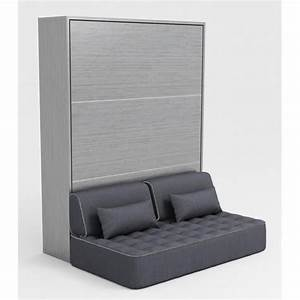 Lit Armoire Canapé : armoire lit escamotable stone 140x200 gris canap achat vente lit escamotable pas cher ~ Teatrodelosmanantiales.com Idées de Décoration
