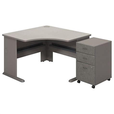 bush bbf series a corner desk with pedestal in pewter white spectrum sra035pesu