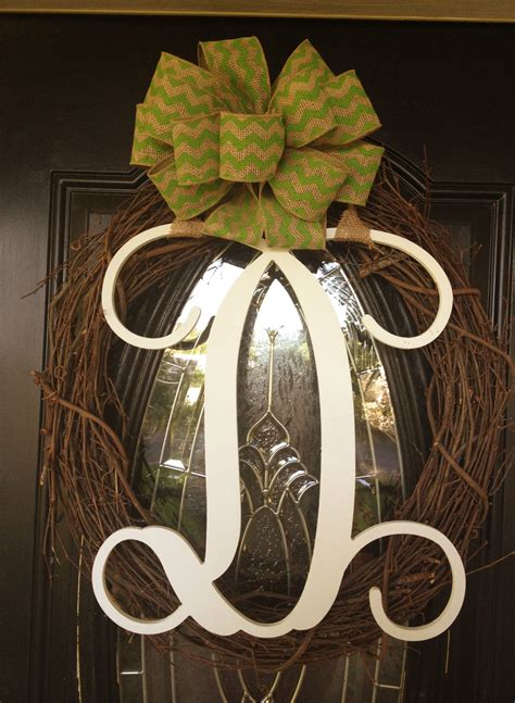 wreath  ribbon  hobby lobby wooden monogram letter  southern traditions wooden