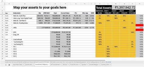Google spreadsheet portfolio tracker for stocks and mutual