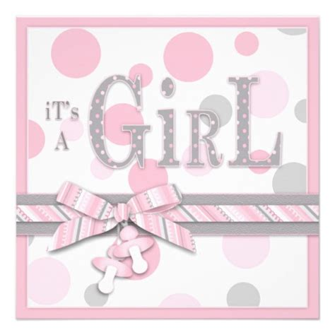 baby shower invitations pink and grey pink gray dots baby shower 5 25x5 25 square paper