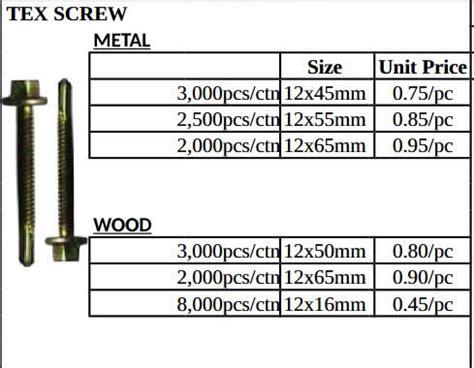 tekscrew metal  wood  box  pricelist philippines