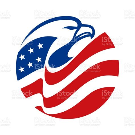 Eagle Head American Flag Circle Abstract Stock ...