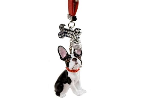 boston terrier handmade mini key ring  blue witch