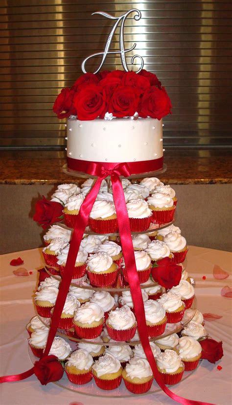 wedding cupcake tower white  red roses  top