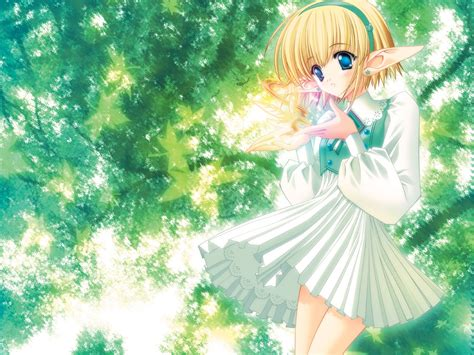 Wallpaper Anime Elf Girl Under Trees 1600x1200 Hd Picture