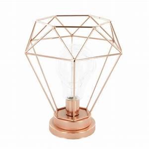Lampe De Chevet Cuivre : lampe poser filaire diamant 22cm cuivre ~ Teatrodelosmanantiales.com Idées de Décoration