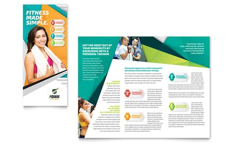 Personal Brochure Templates by Fitness Trainer Brochure Template Word Publisher