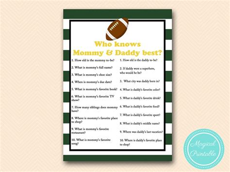 Green Football  Ee  Baby Ee    Ee  Shower Ee   Games Magical Printable