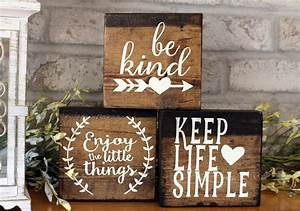 Set, Of, 3, Blocks, Wood, Sign, Home, Decor, Wood, Signs, With