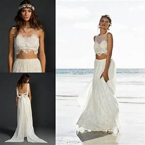 Sexy backless lace beach wedding dresses fashionable 2 two for Two piece beach wedding dress