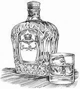 Crown Royal Illustration Sketch Bottle Drawing Glass Advertising Takes Drawings Illustrations Ice Sprouls Wineries Tattoo Variations Ink Wines Potent Potable sketch template