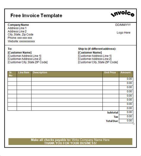 free printable invoice templates 52 sle blank invoice templates sle templates