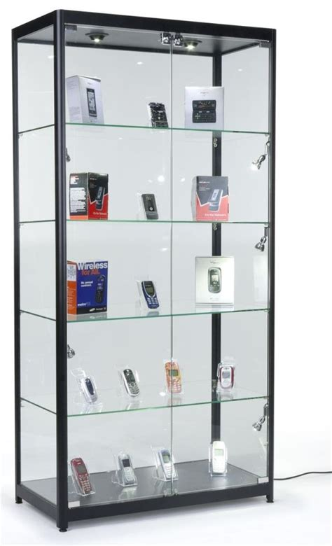 glass curio cabinet with lights to create a beautiful display