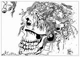 Doodle Coloring Adult Doodling Skull Draw Adults Adultos Colorare Colorear Justcolor Doodles Valentin Scary Disegni Coloriage Dessin Adulti Strange Coloriages sketch template